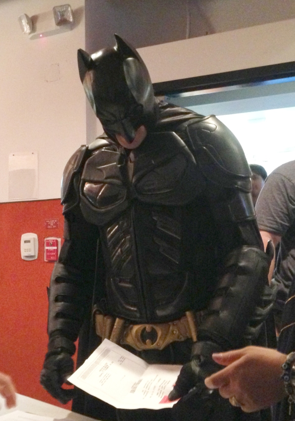 Cosplayers checking in before the show: Waleed Rahim as Batman Photo credit: K. Clark